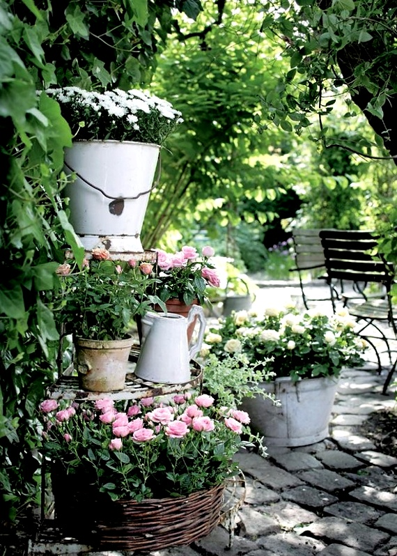 white pails and flowers